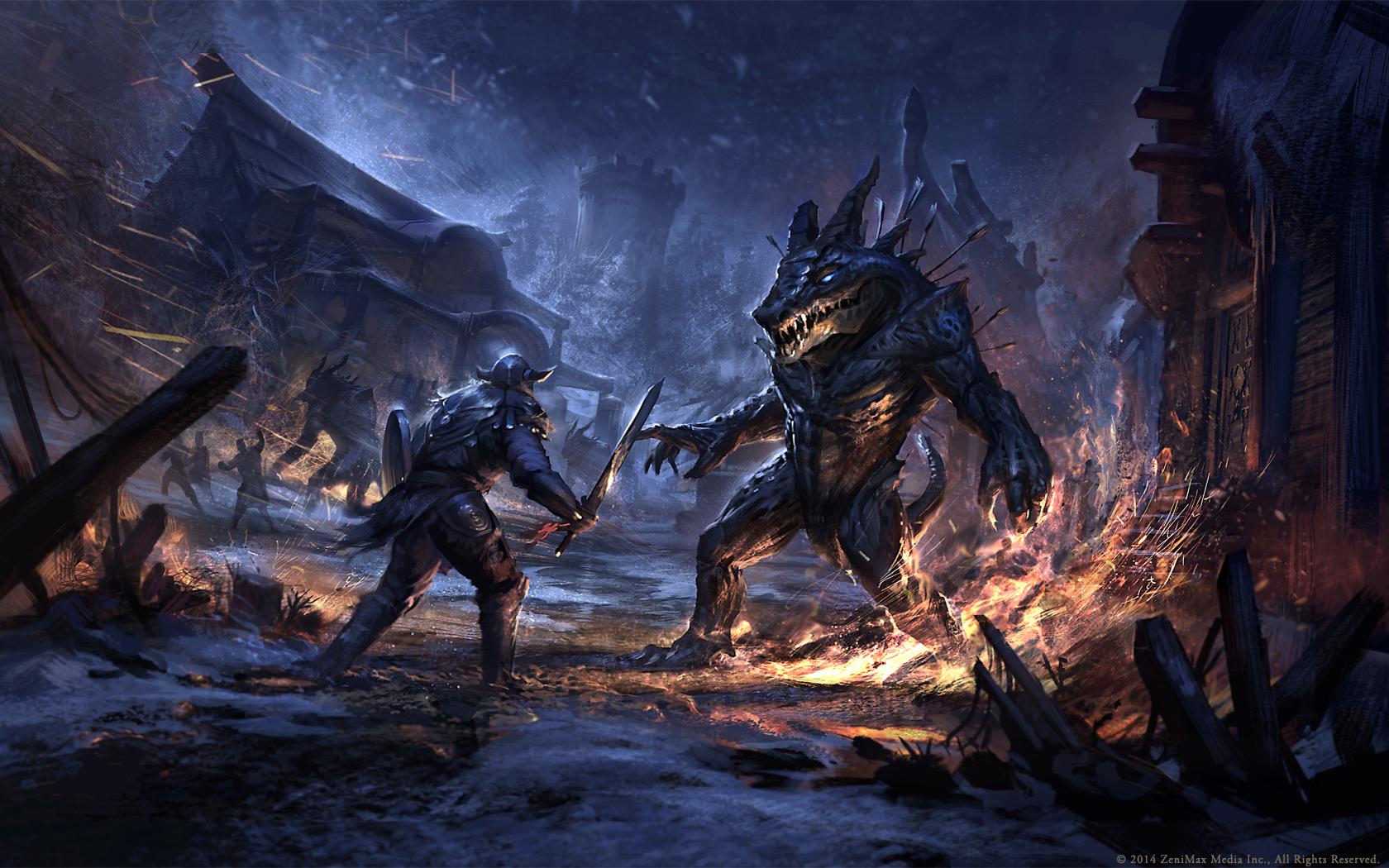 The Elder Scrolls: Online concept art battle