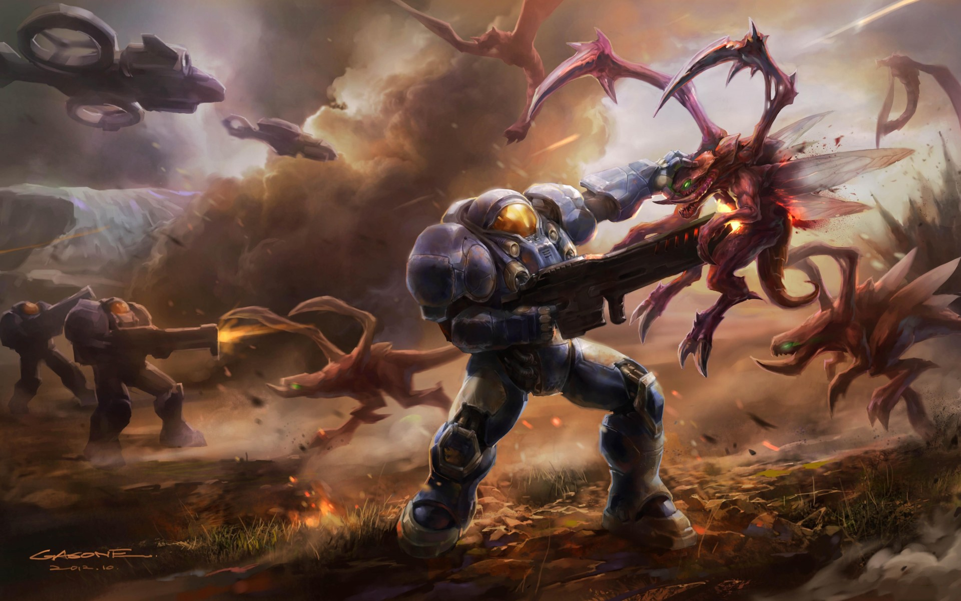 StarCraft 2 zerg concept art picture концепт Terran battles