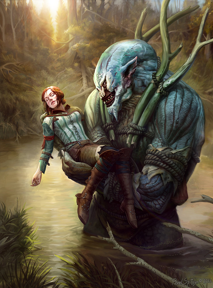 The Witcher 3 concept art picture Triss and troll