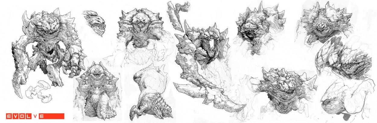 Evolve concept art набросок нового монстра behemoth