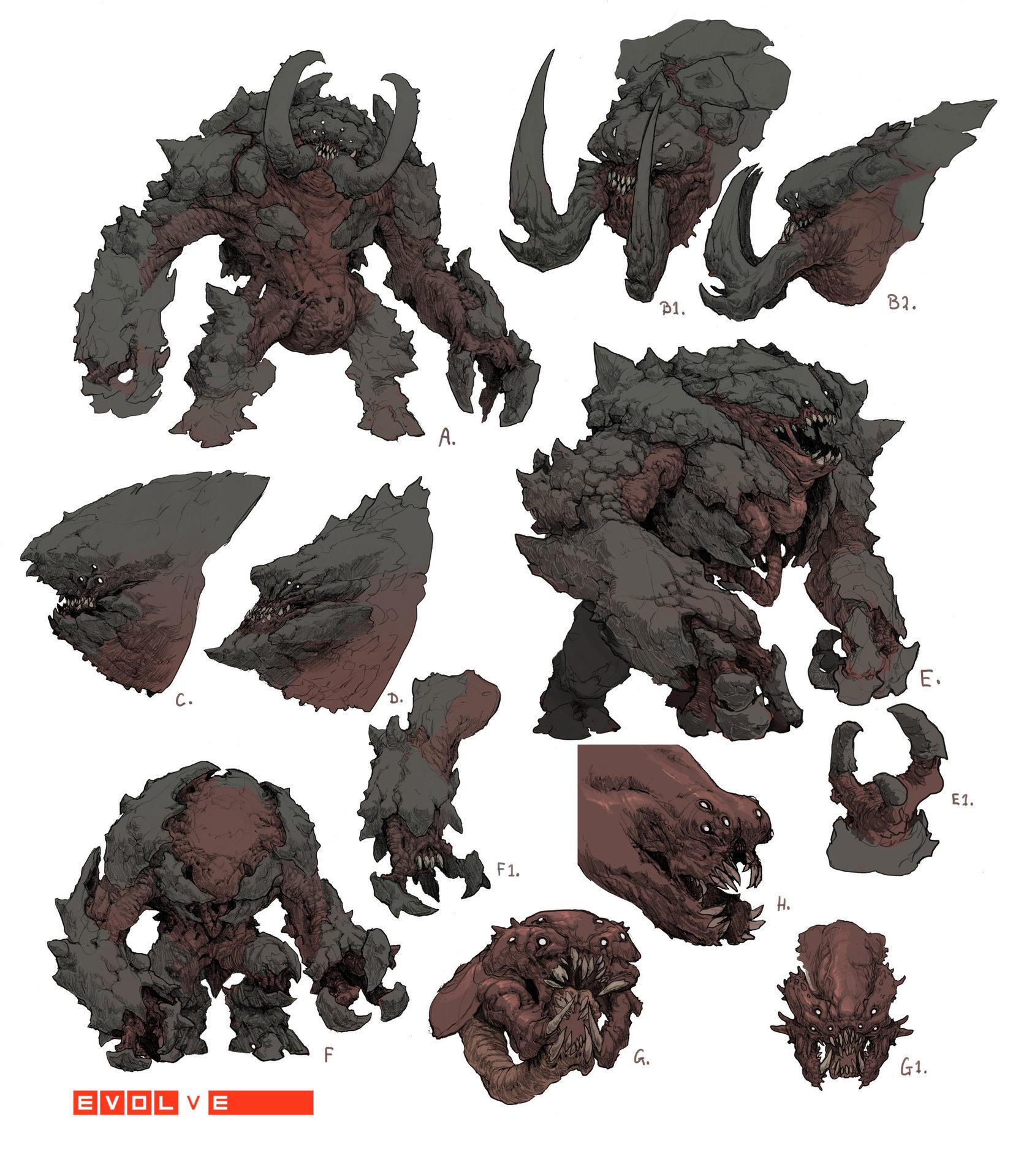 Evolve concept art скетчи монстра бегемот behemoth