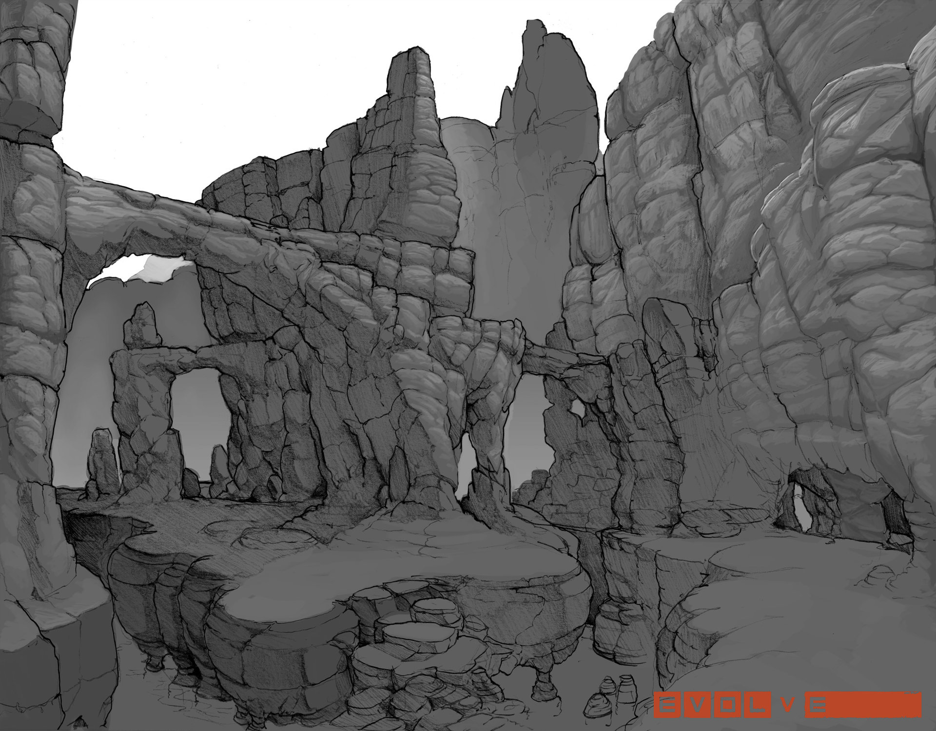 Evolve concept art picture canyon карта