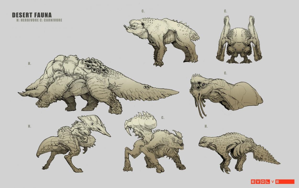 Evolve concept art picture desert fauna фауна пустыни