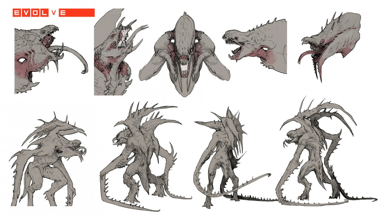 Evolve concept art picture kraken скетчи монстра