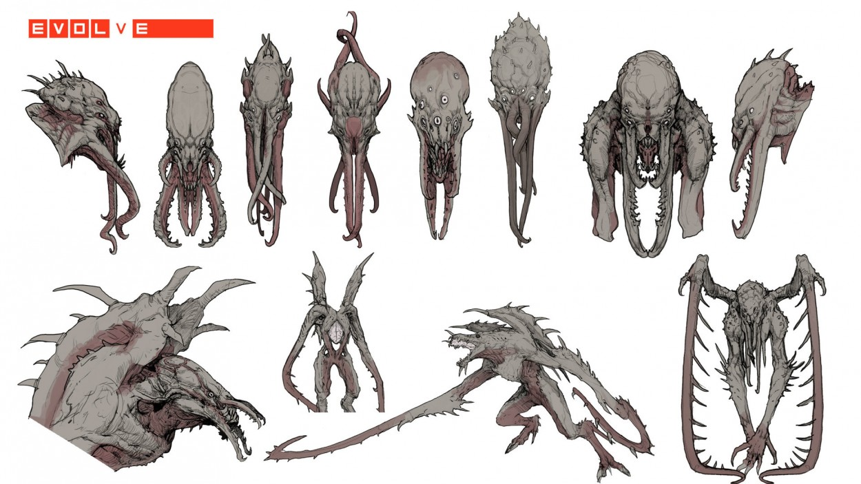 Evolve concept art picture kraken варианты монстра