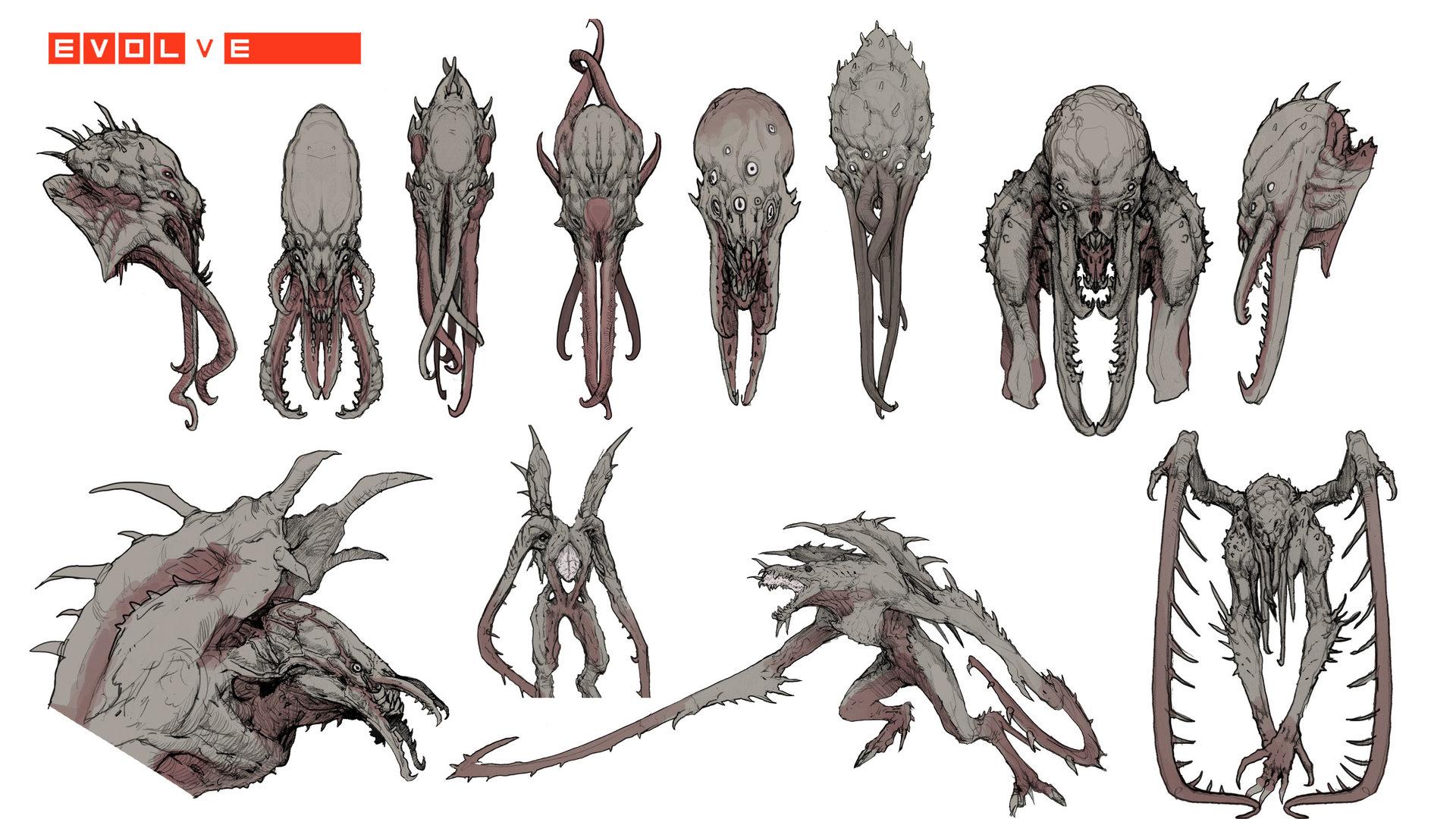 Evolve concept art picture kraken варианты монстра