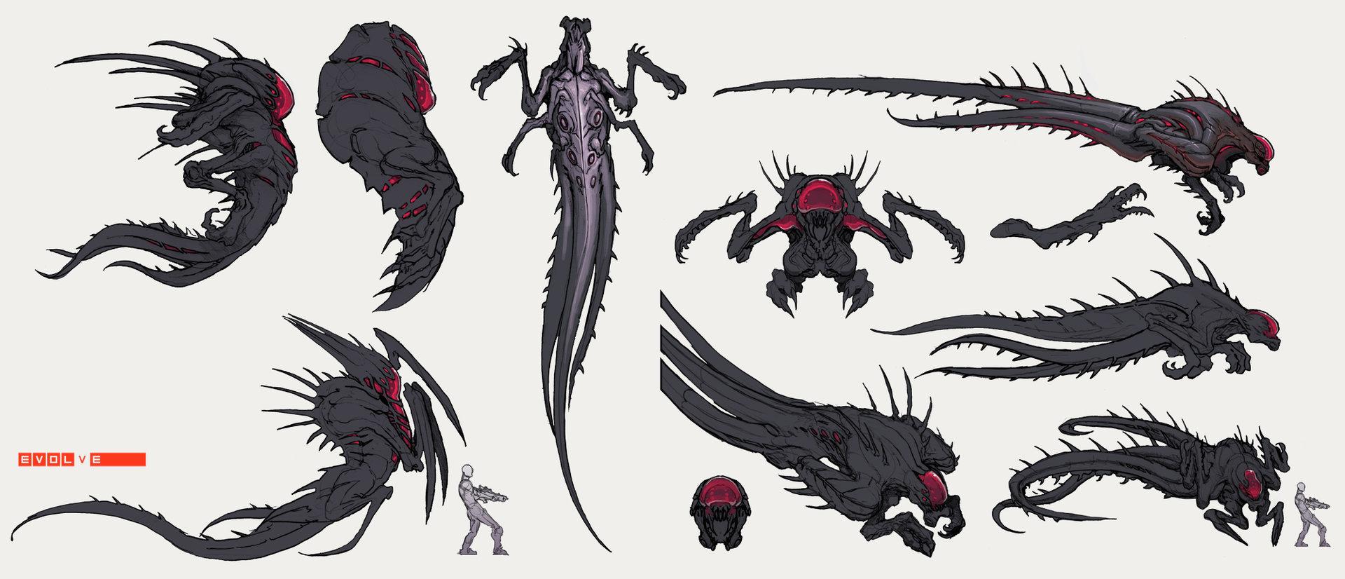 Evolve concept art wraith создание монстра