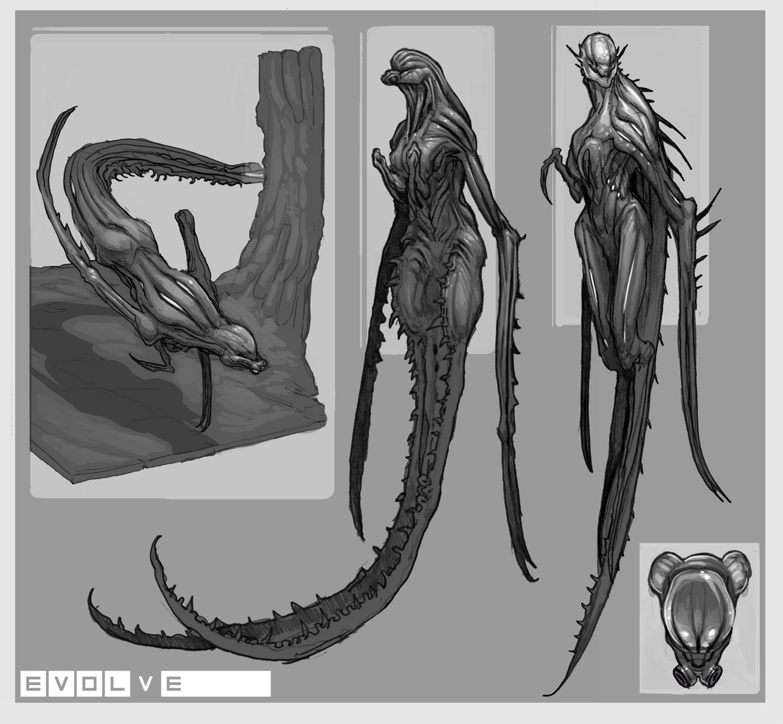 Evolve concept art wraith скетч