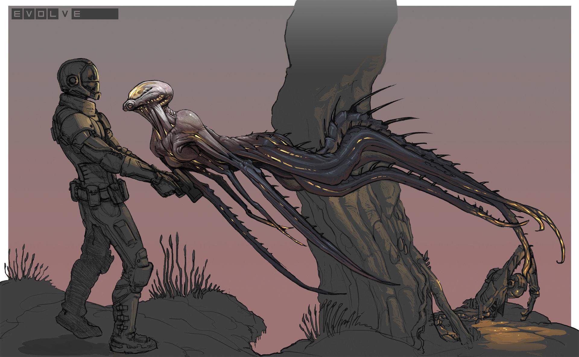 Evolve concept art picture wraith набросок