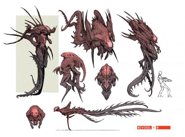 Evolve concept art wraith монстр