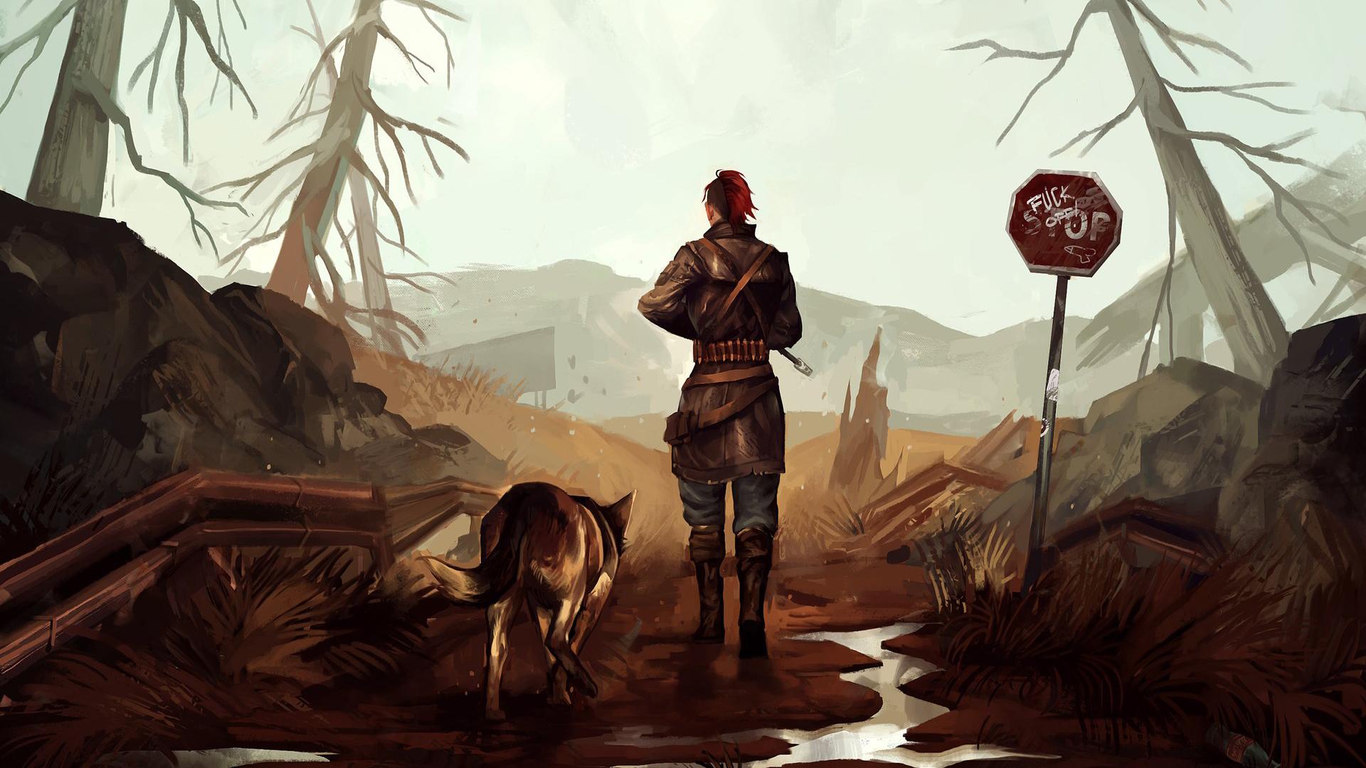 Fallout 4 concept art picture собака и новый герой
