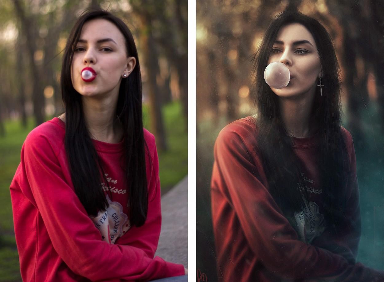 Арт девушки с фотогорафии, до и после andrew white bubble gum