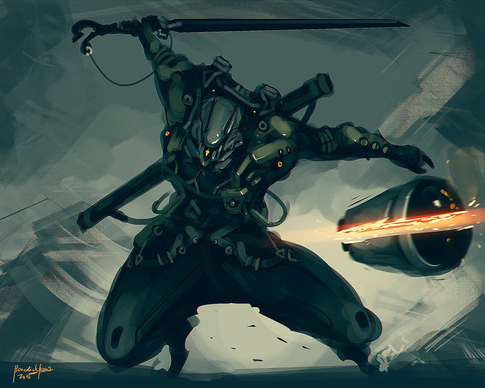 Concept art стимпанк самурая разрубившего снаряд, концепт арт от benedick-bana