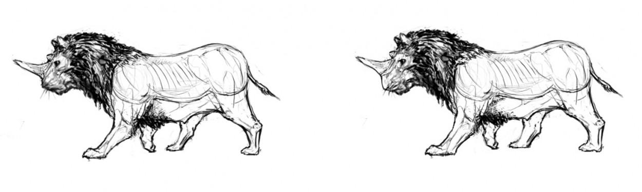 Создание существ, гибрид носорога и льва