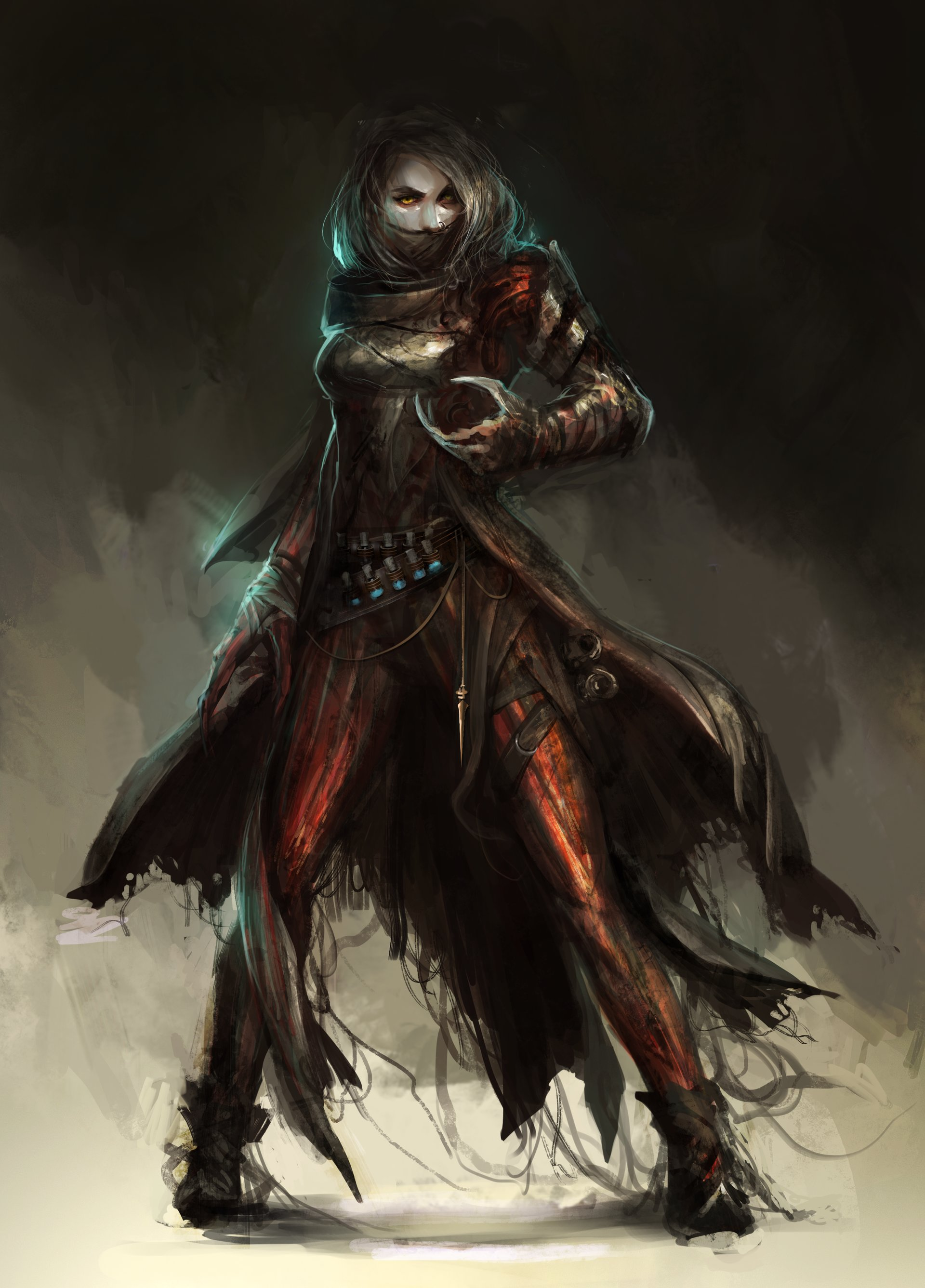 Concept art вампира в плаще и когтями, концепт арт от daniel kamarudin