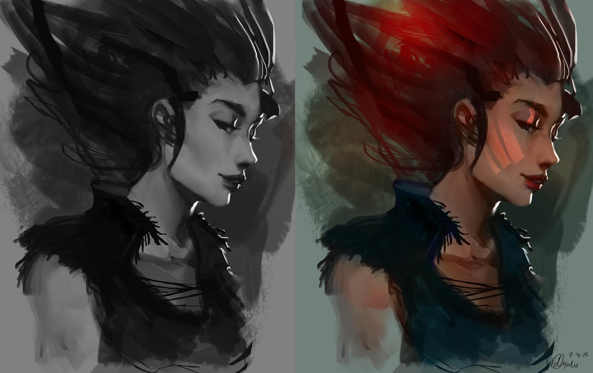 Concept art девушки панка, концепт арт от danielle oyales