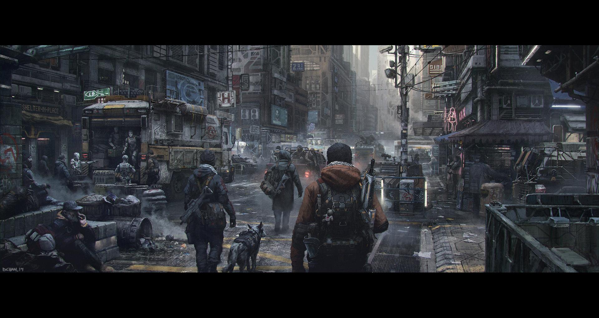 Concept art города в бедствии в серости, концепт арт от dennis chan