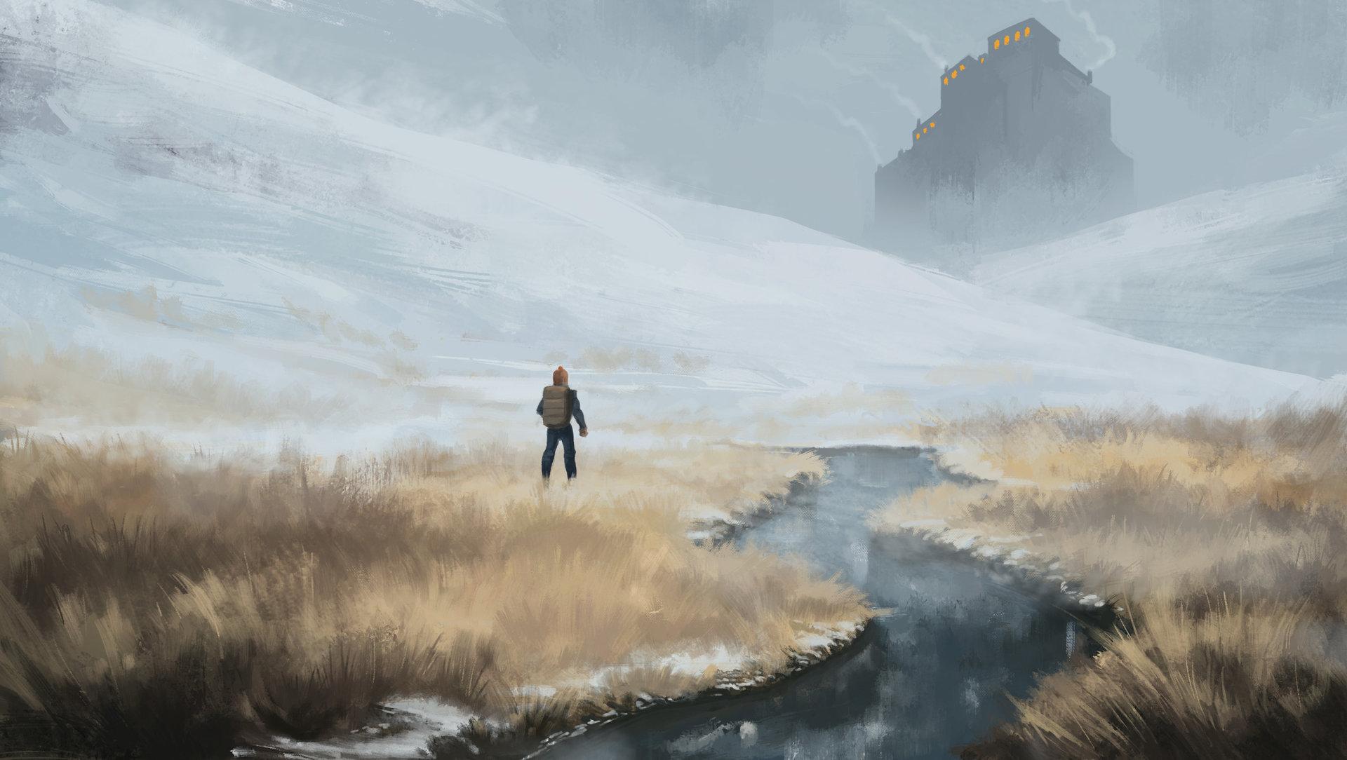 Concept art туман на полях и реке, персонаж, концепт арт от erel-maatita cold