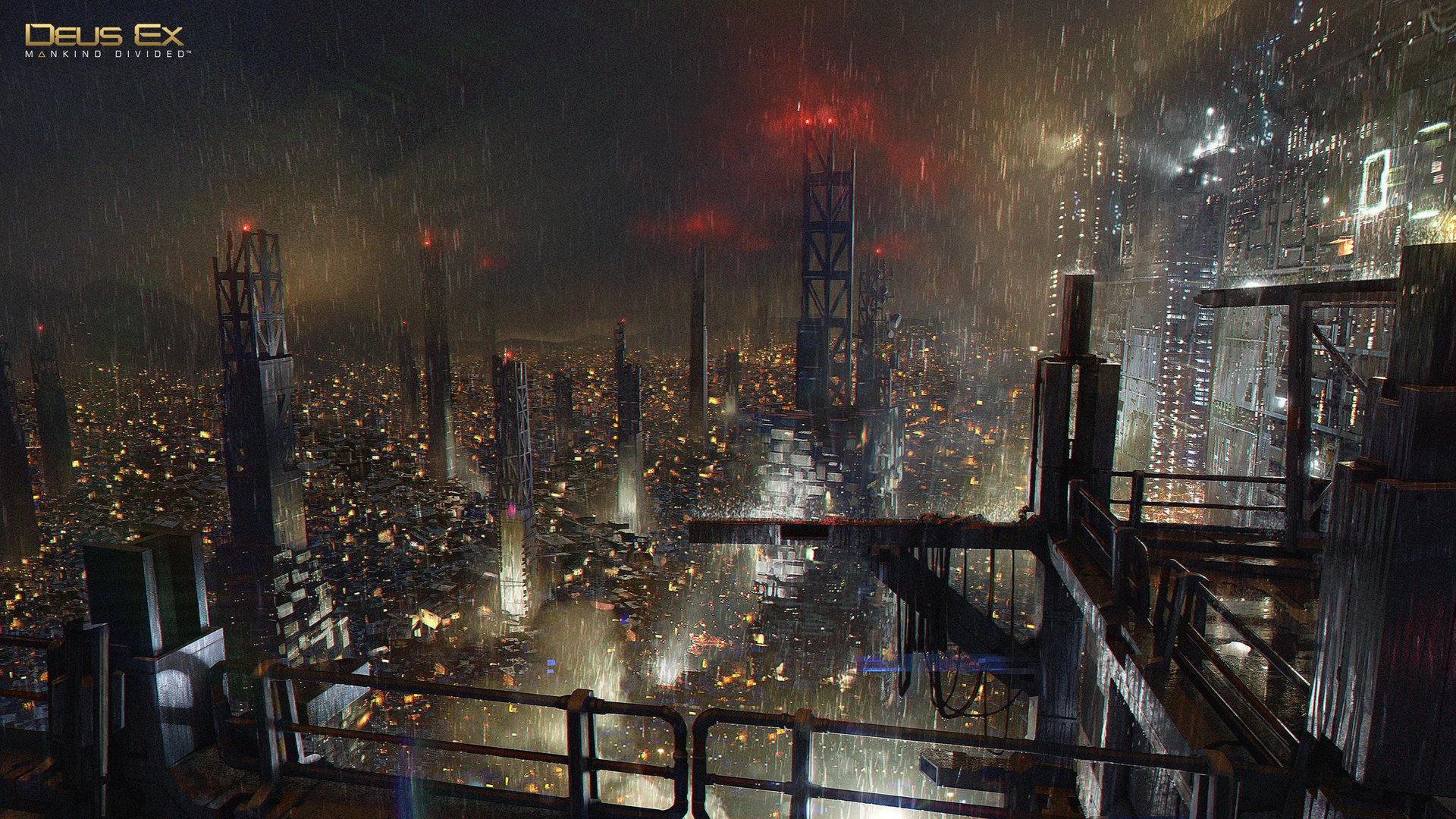 Deus Ex: Mankind Divided концепт арт night-rain