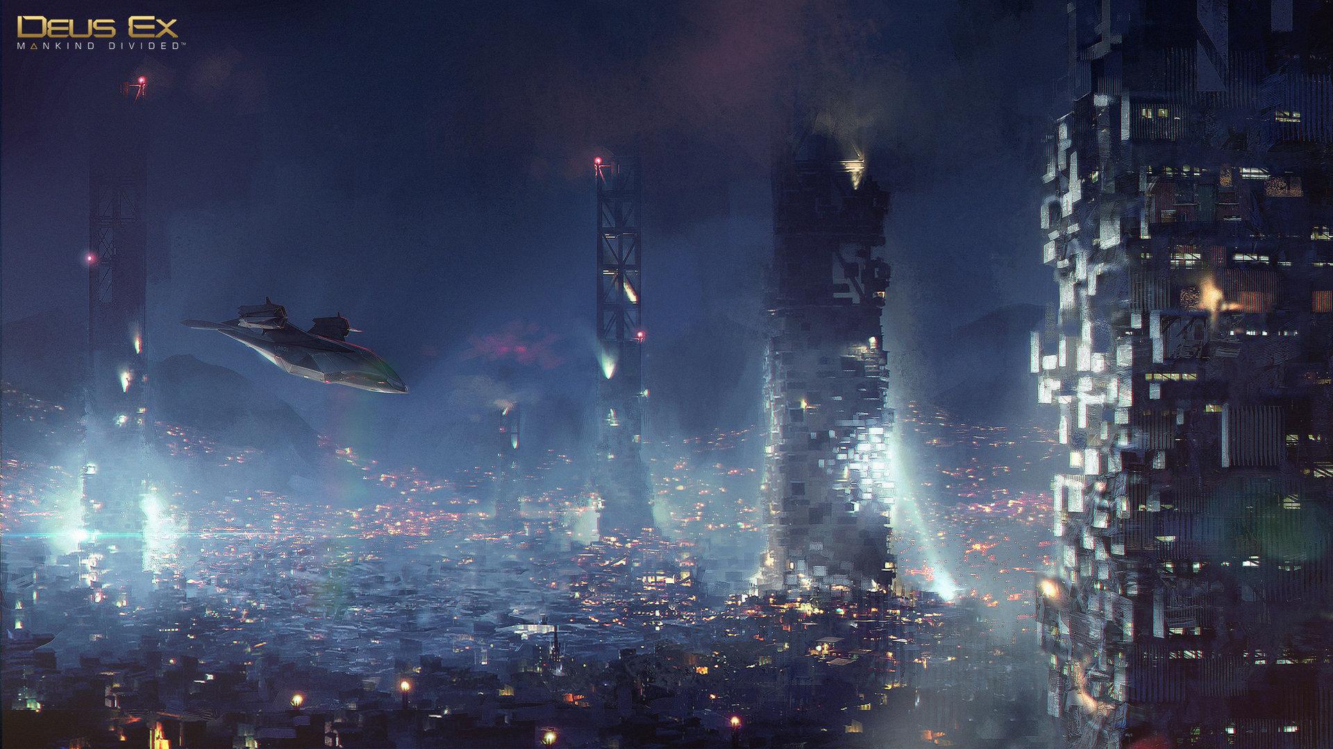 Deus Ex: Mankind Divided концепт арт корабля и города moodshot