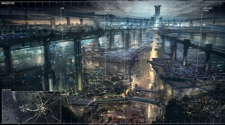 Concept art города будущего из систем наведения
