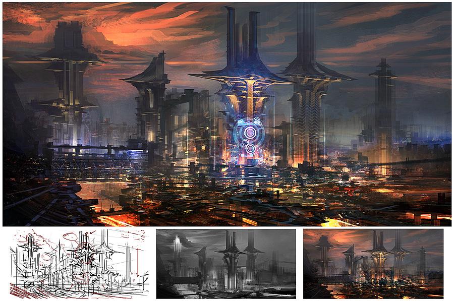 Concept art  создания главных башен города