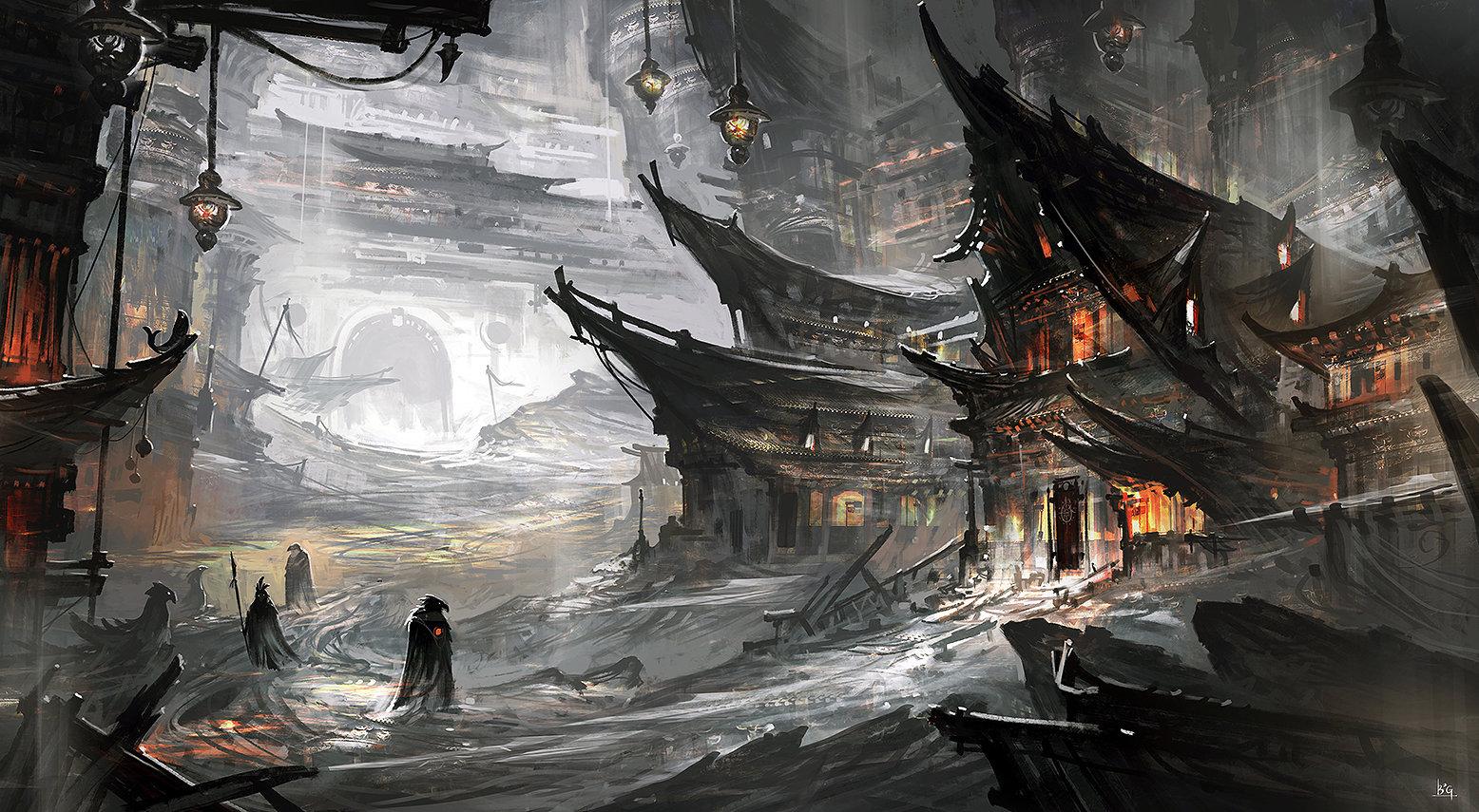 Concept art храма в серых красках, концепт арт от gao-zhingping