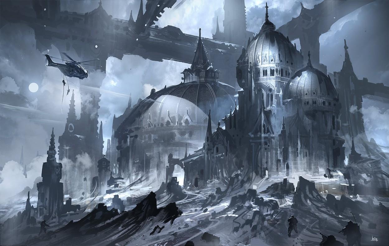 Concept art города в холодных тонах, концепт арт от gao-zhingping