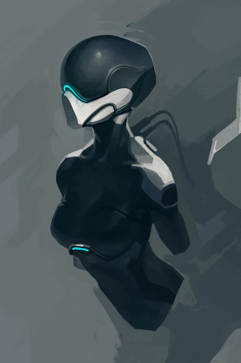Concept art девушки в футуристичном костюме, концепт арт от hasan danilov