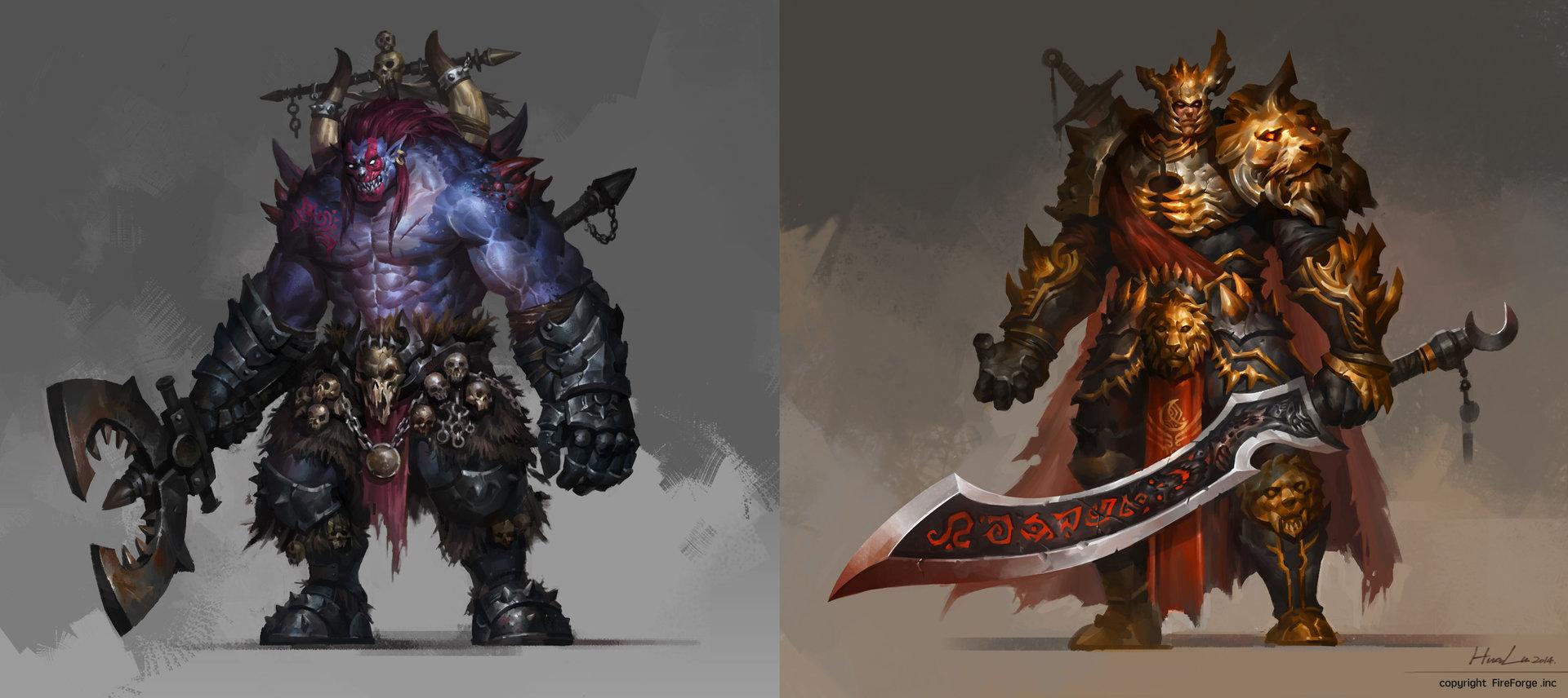 Concept art 2 персонажей, монстра и рыцаря, концепт арт от hua lu