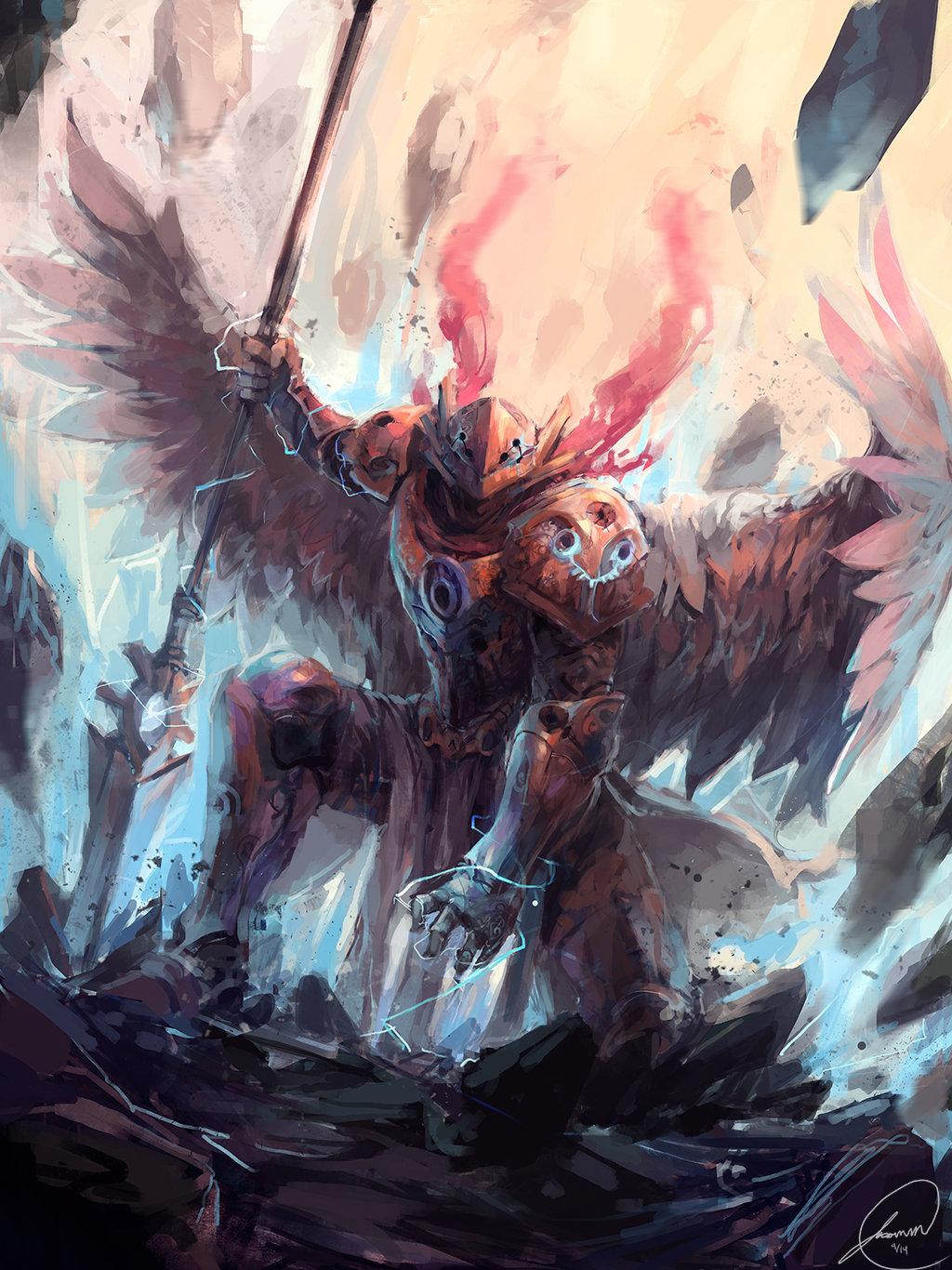 Concept art ангел расколовший землю, крутой концепт арт от jason nguyen