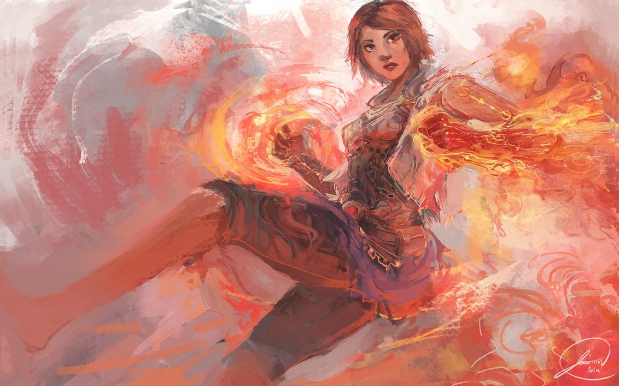 Арт девушки огненого мага от jason nguyen