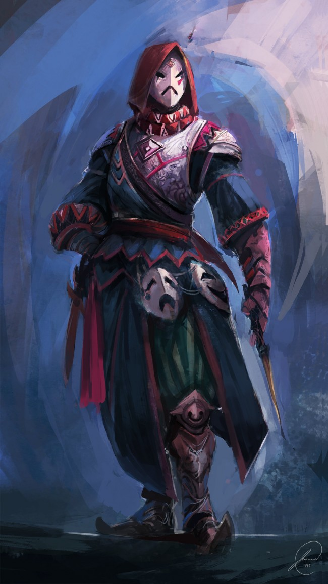 Concept art воин с 3 масками с разными особенностями, концепт арт от jason nguyen