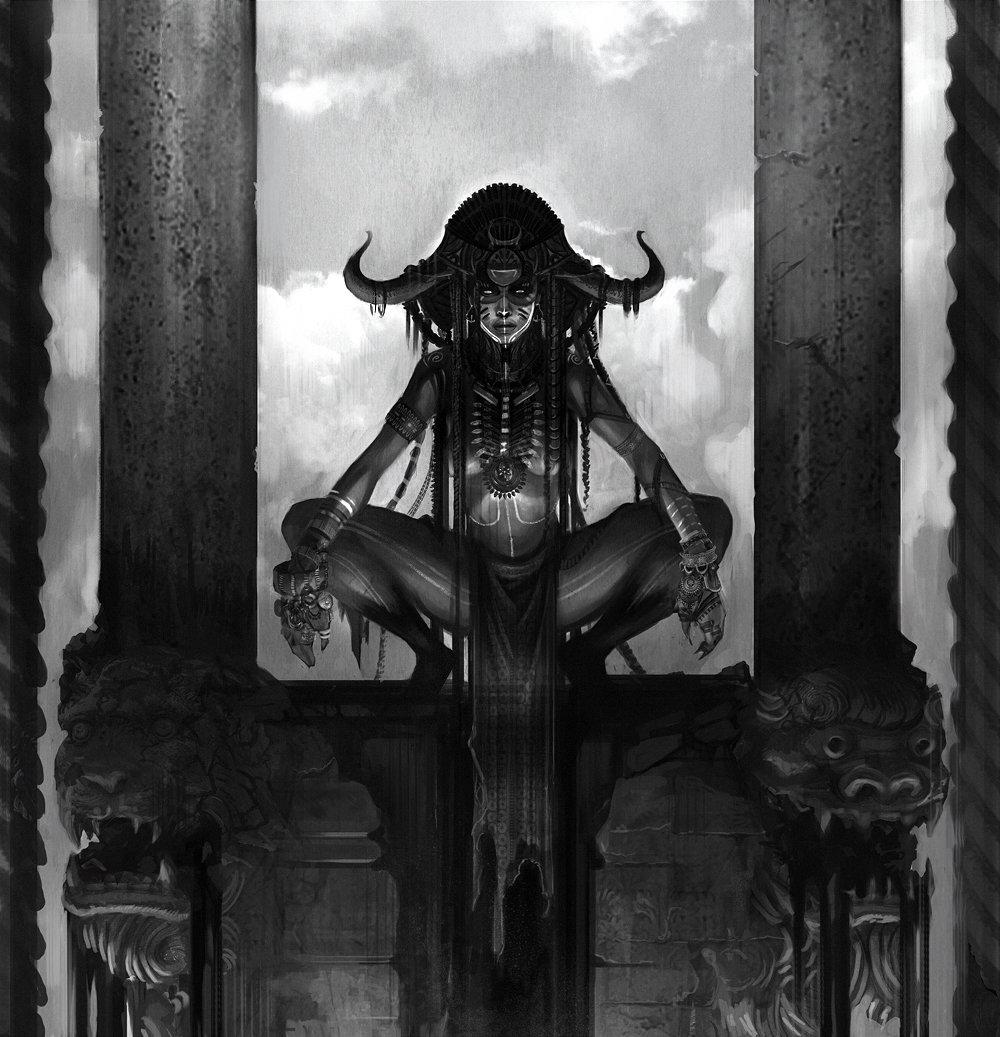 Concept art черно белый, шаман в храме в маске, концепт арт от lewis fischer