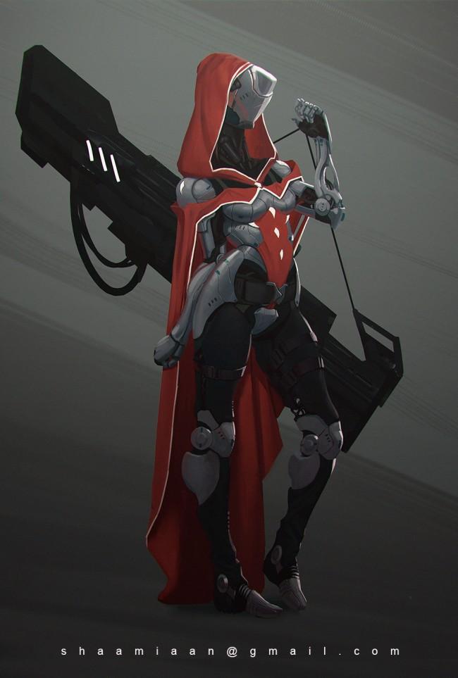 Concept art брони из будущего и плазменной пушки, концепт арт от lukasz-poduch
