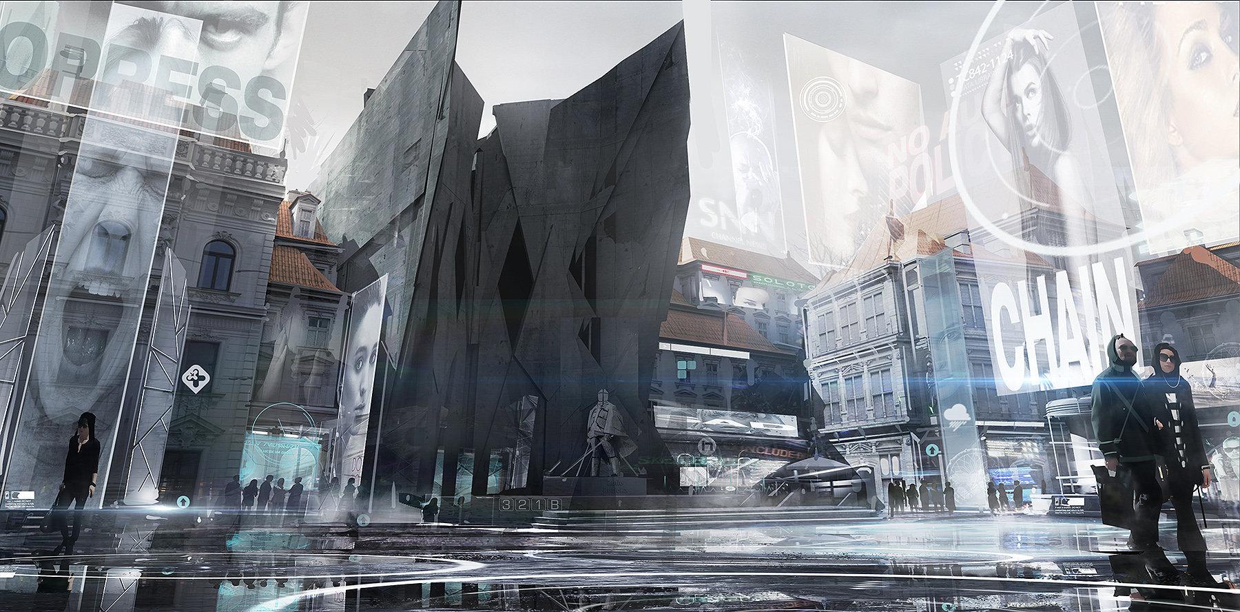 Deus Ex: Mankind Divided prague-modern-district концепт арт