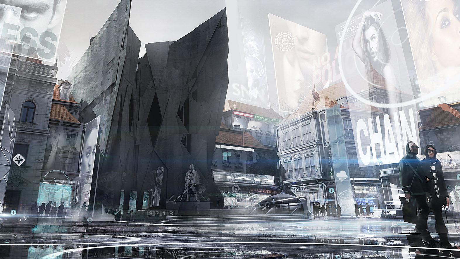 Deus Ex: Mankind Divided концепт арт mathieu-latour-duhaime-prague-modern