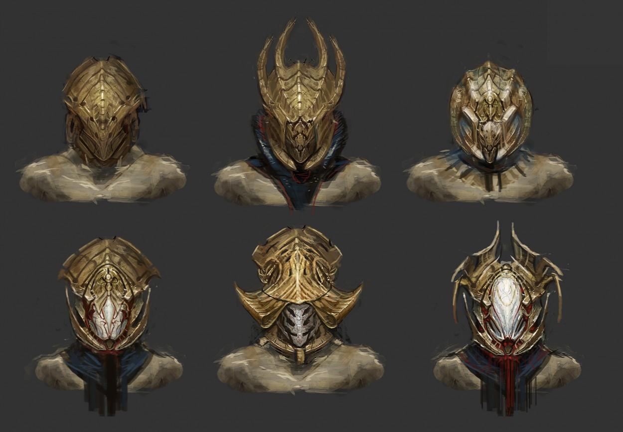 Concept art варианты золотых шлемов, концепт арт от muyoung-kim