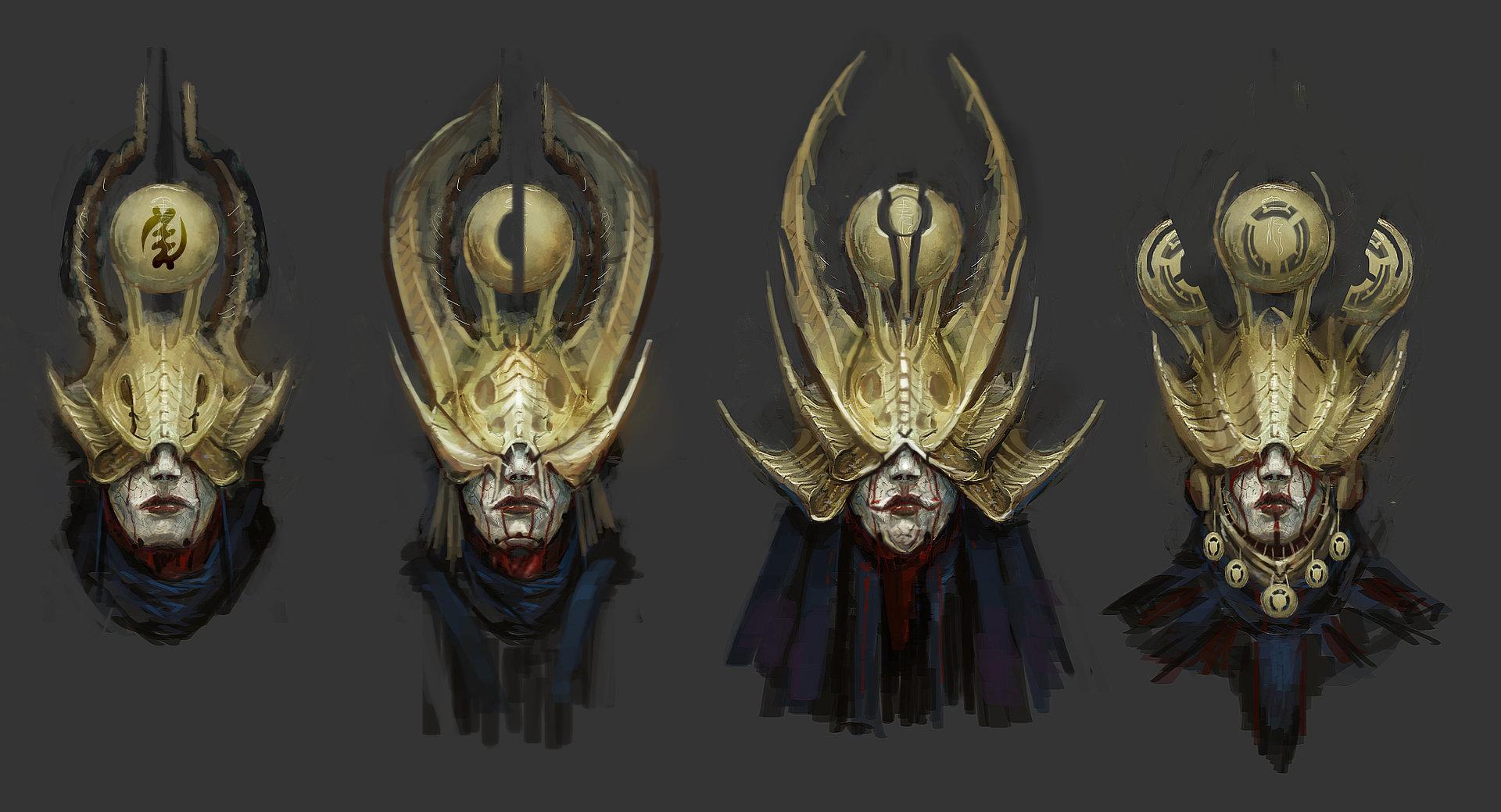 Concept art золотого кровавого шлема без глаз, концепт арт muyoung-kim