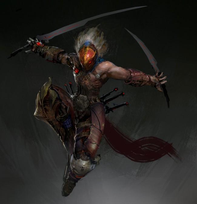 Concept art быстрого воина племени в маске и 2 кинжаламиб, концепт арт от muyoung kim
