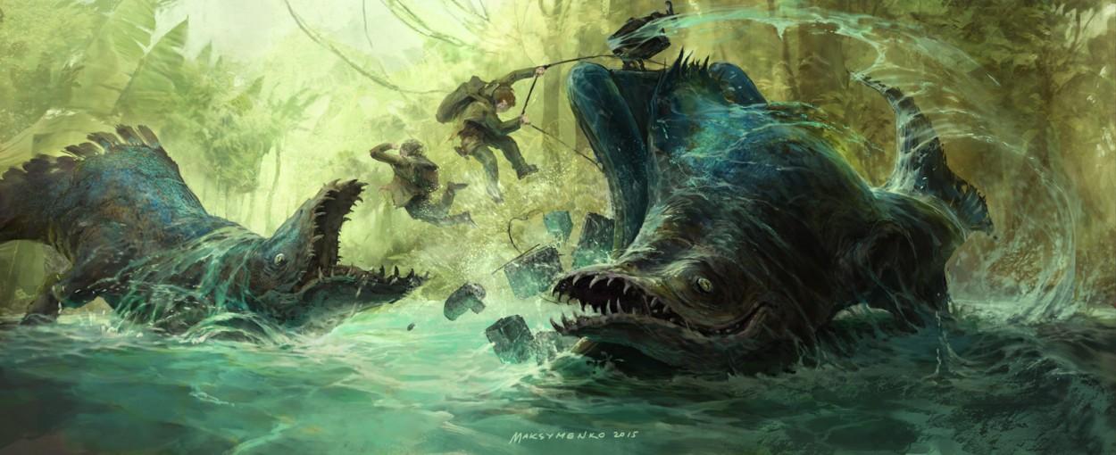 Concept art гигантские рыбы крокодилы амазонки и туристы, концепт арт от pavel maksymenko