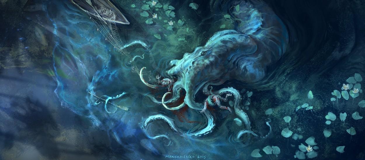 Concept art кальмара кракена из легенд, концепт арт от pavel maksymenko