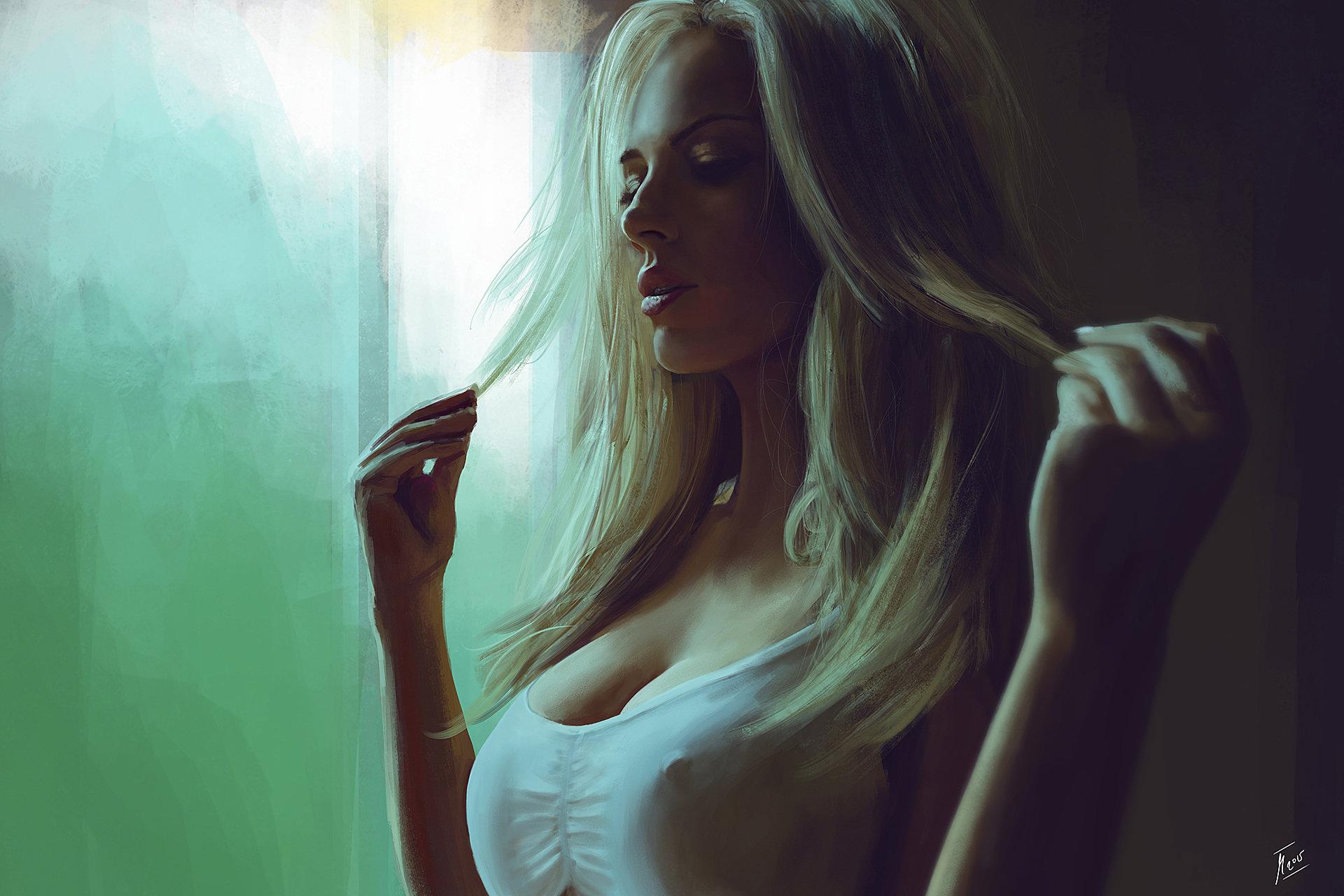 Арт девушки блондинки Reha Sakar blonde