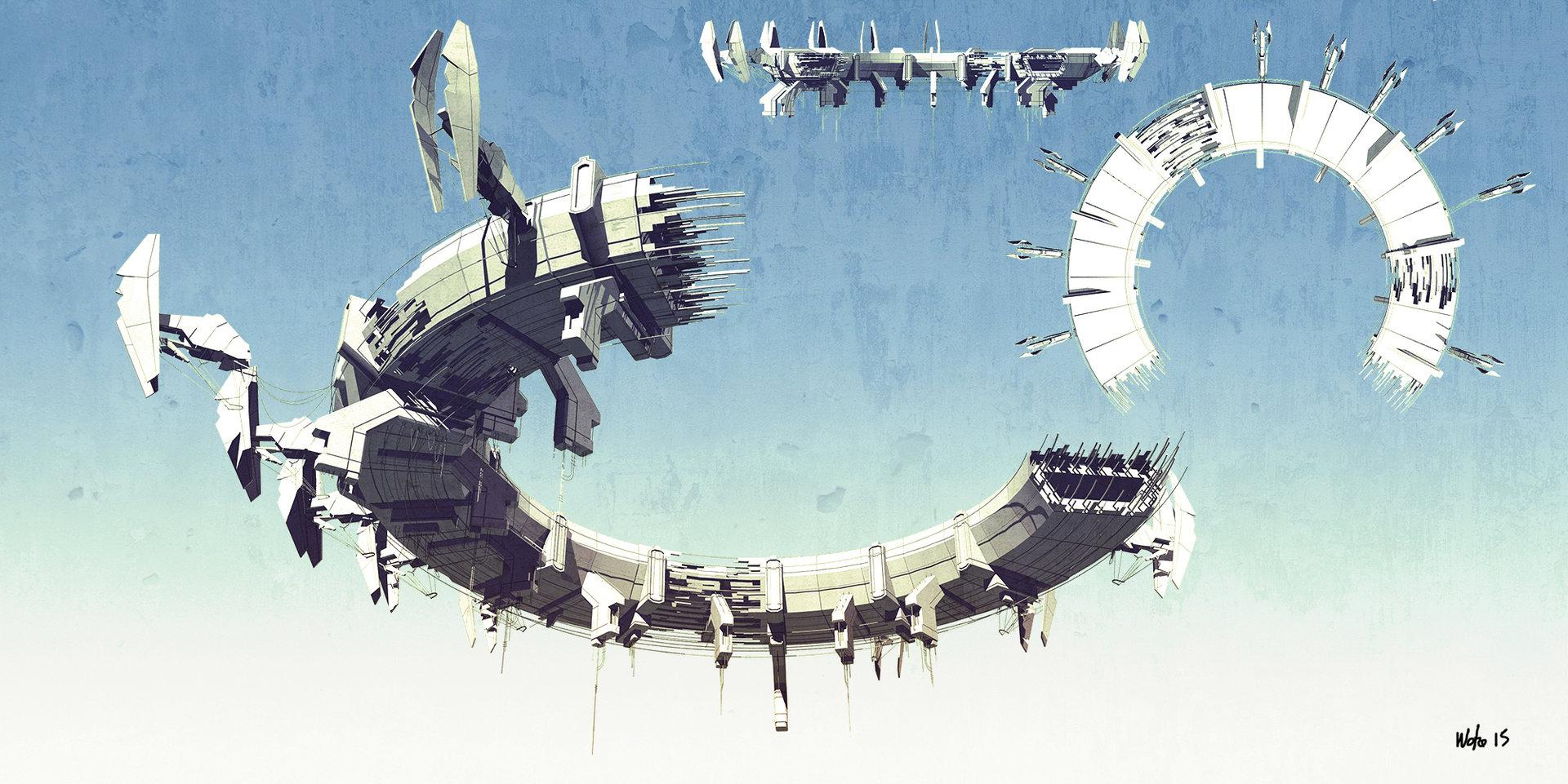 Concept art парящей платформы из будущего, концепт арт от rob watkins