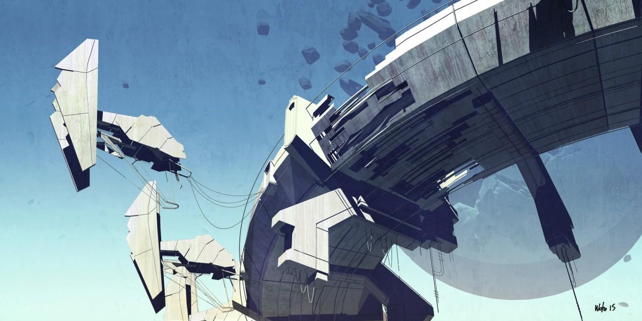 Concept art парящей платформы и небольших кораблей, концепт арт от rob watkins 2
