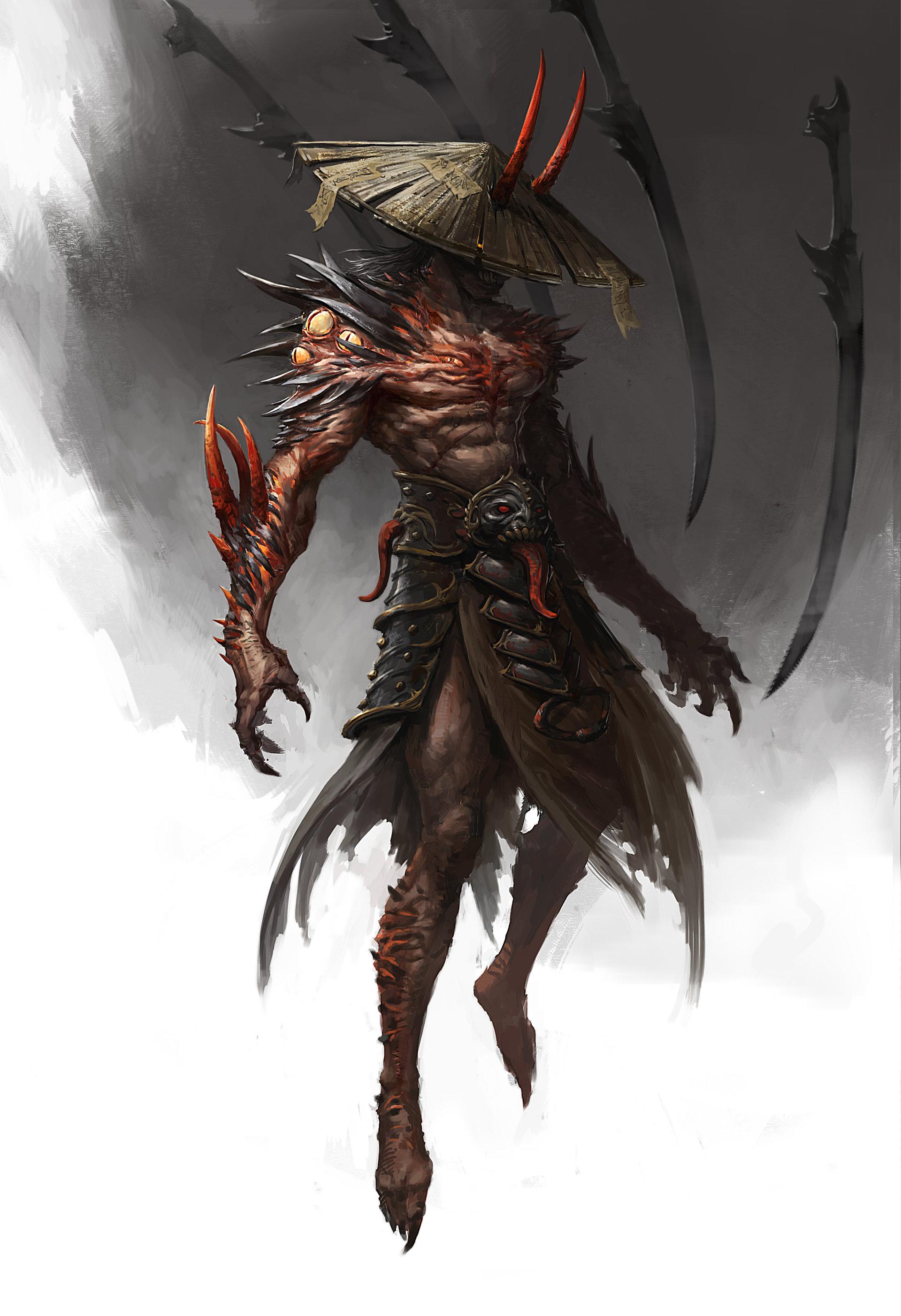 Concept art демона самурая, концепт арт от troll juncha