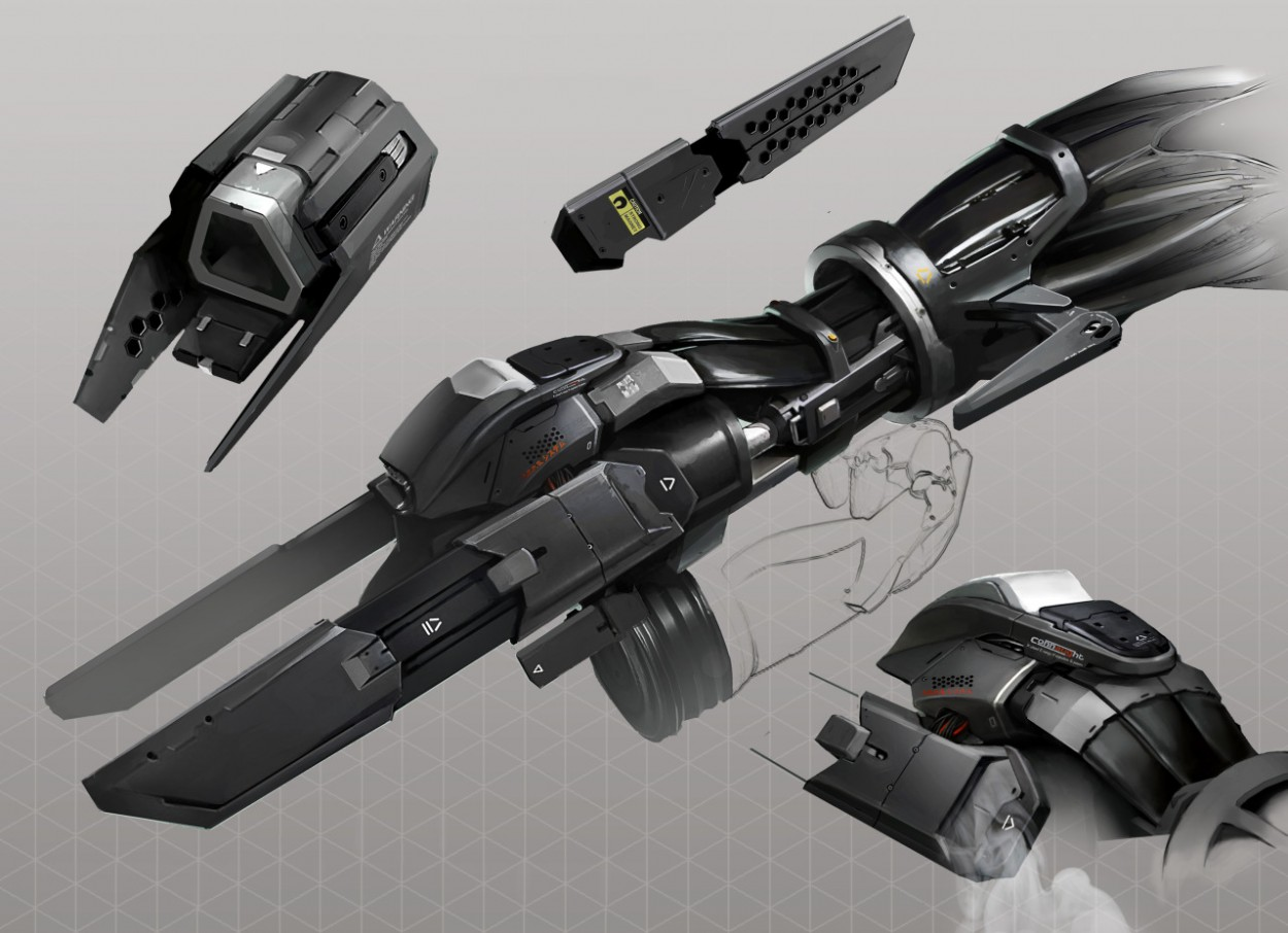 Deus Ex: Mankind Divided концепт арт аугментации руки оружия