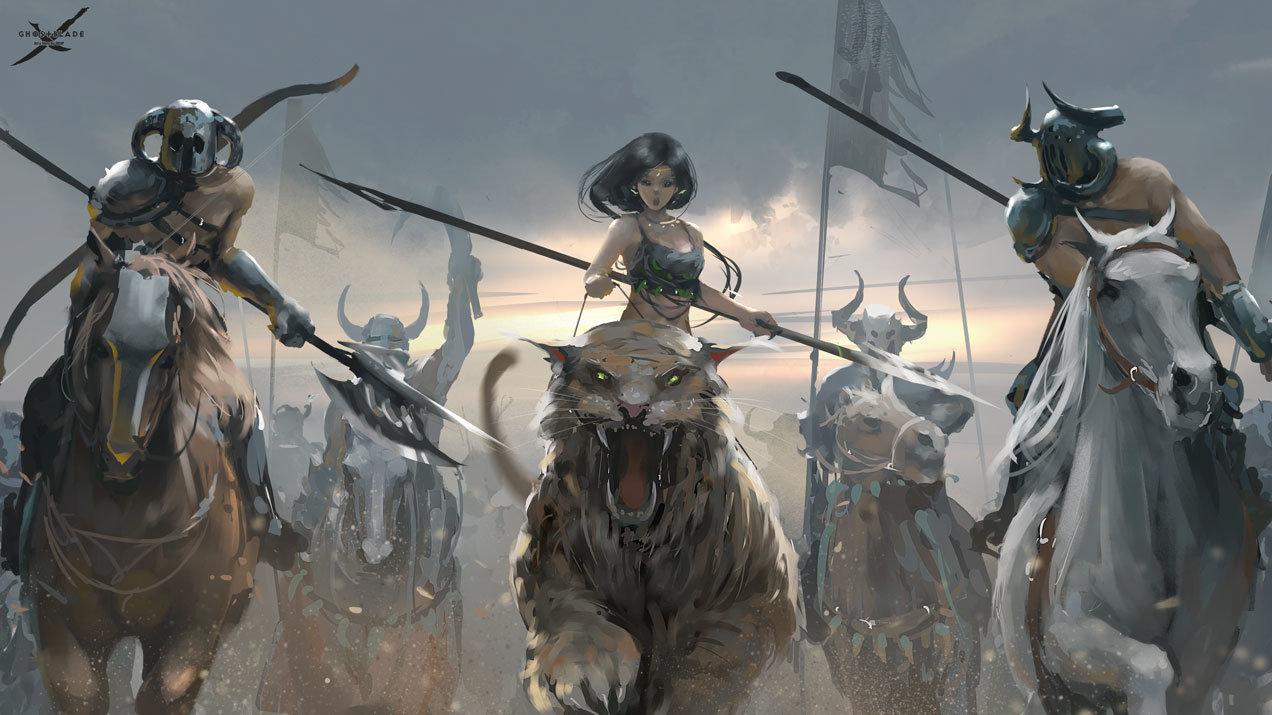 Concept art погони девушки на тигре от варваров, концепт арт от wl op