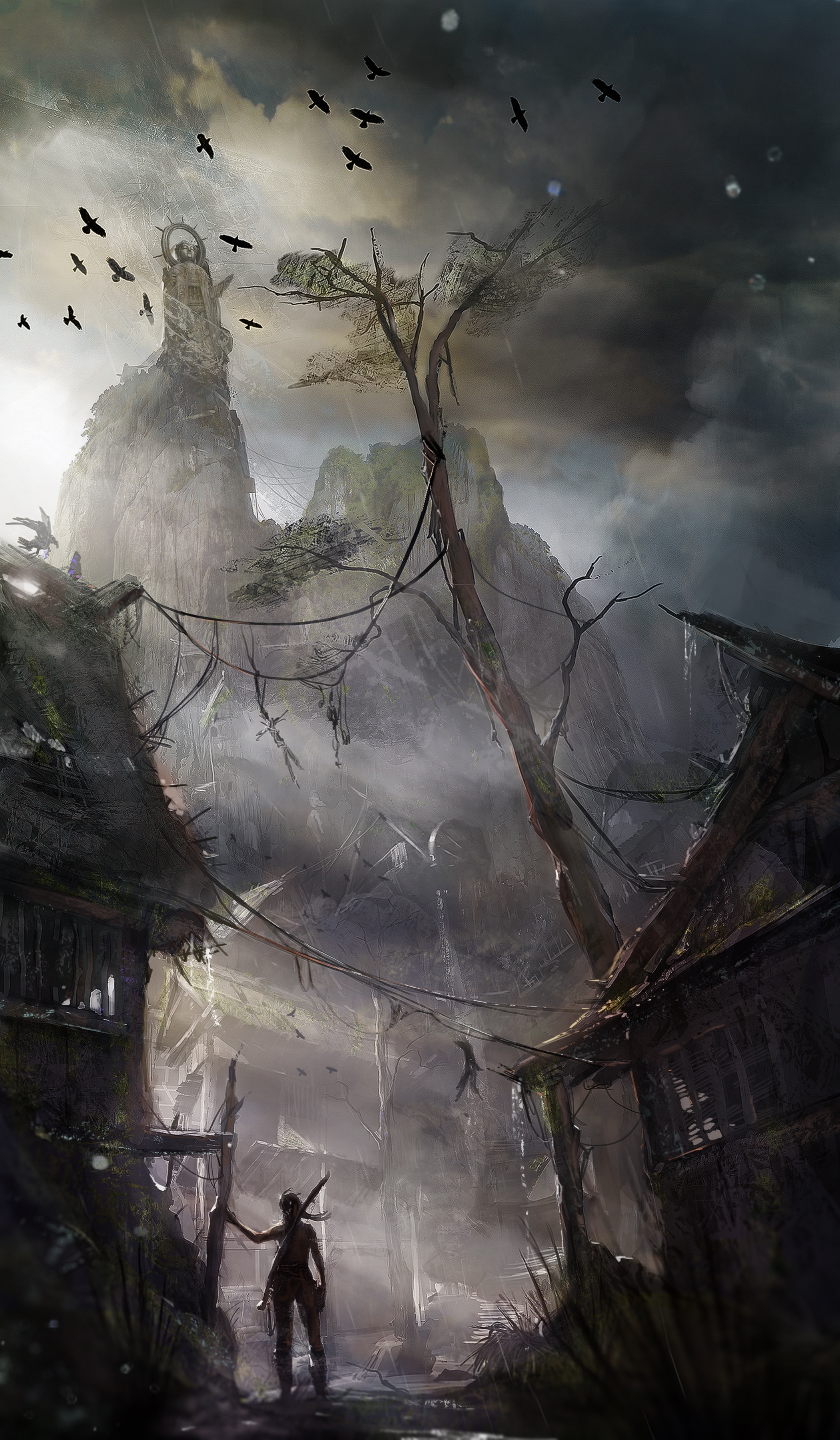 Tomb Raider promo concept art деревня и гора