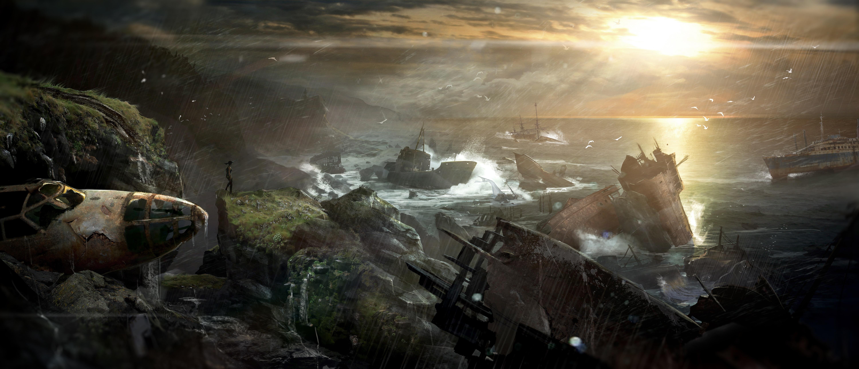 Tomb Raider promo concept art разбитые корабли